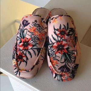 H&M floral pink flat mules loafer satin 35